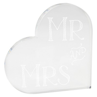 Mr and Mrs Acrylic Heart Clear Party Decoration