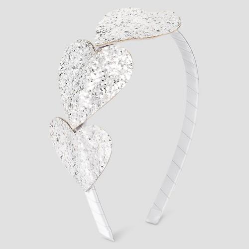 Girls' Heart Headband Cat & Jack - Silver One Size, Girl's