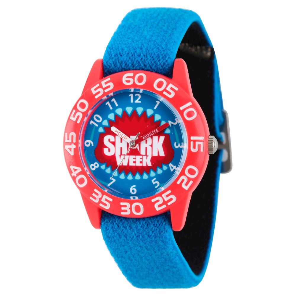 Boys Discovery Channel Shark Week Red Plastic Time Teacher Watch - Blue