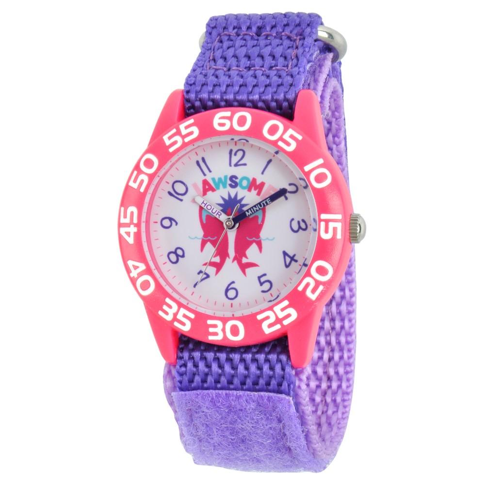 Girls Discovery Channel Shark Week Pink Plastic Time Teacher Watch - Purple