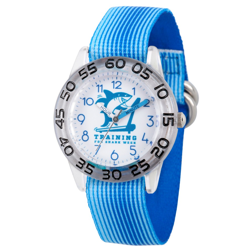 Boys' Discovery Channel Shark Week Clear Plastic Time Teacher Watch - Blue