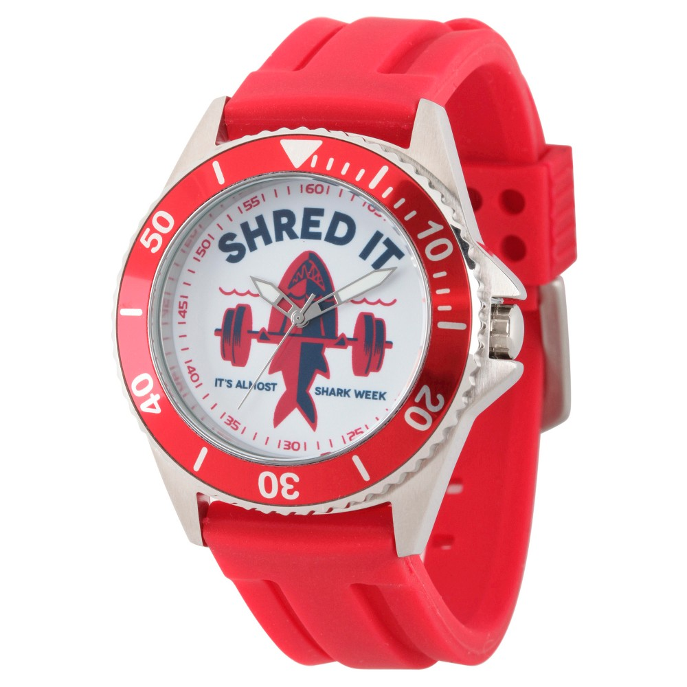 Mens Discovery Channel Shark Week Honor Stainless Steel Watch - Red