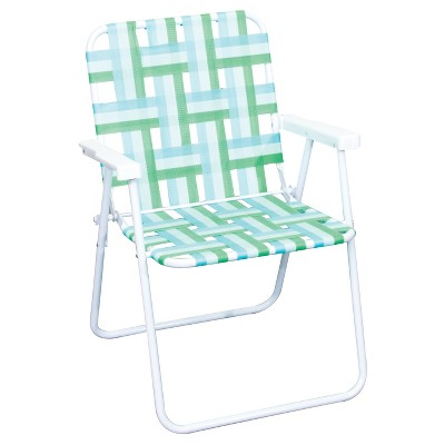 Webstrap Folding Beach Chair - Teal/Green/White