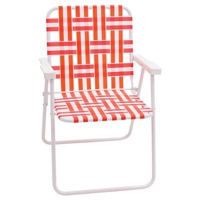 Webstrap Folding Beach Chair - Coral/White