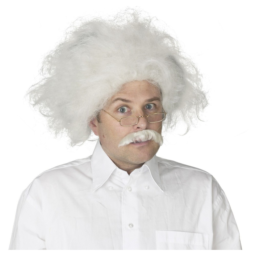Halloween Adult Einstein Costume Wig White, Mens