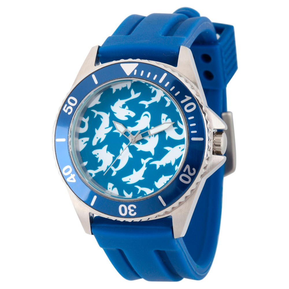Mens Discovery Channel Shark Week Honor Stainless Steel Watch - Blue