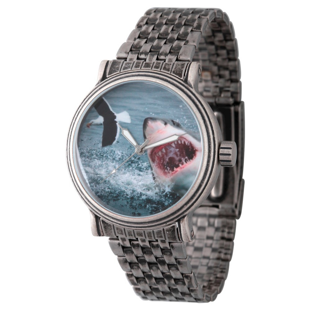 Mens Discovery Channel Shark Week Antique Silver Vintage Alloy Watch - Silver