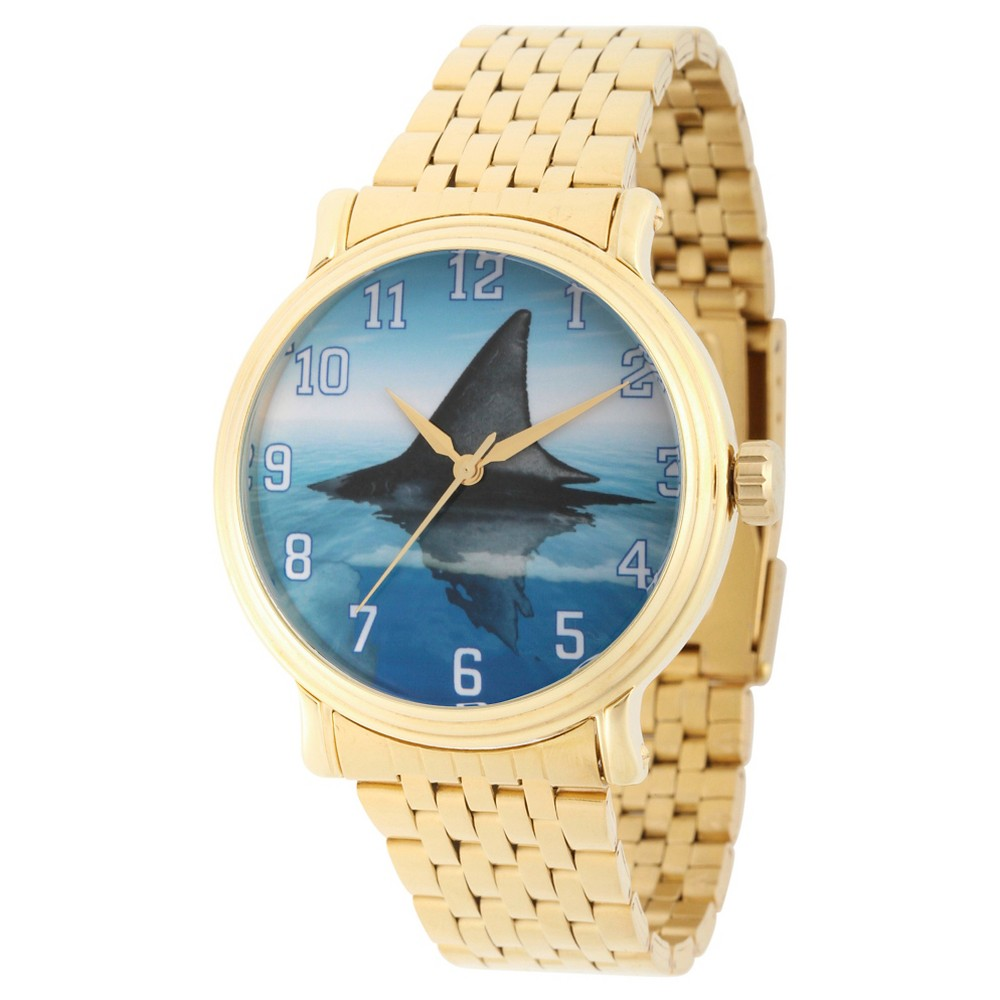 Mens Discovery Channel Shark Week Gold Vintage Alloy Watch - Gold