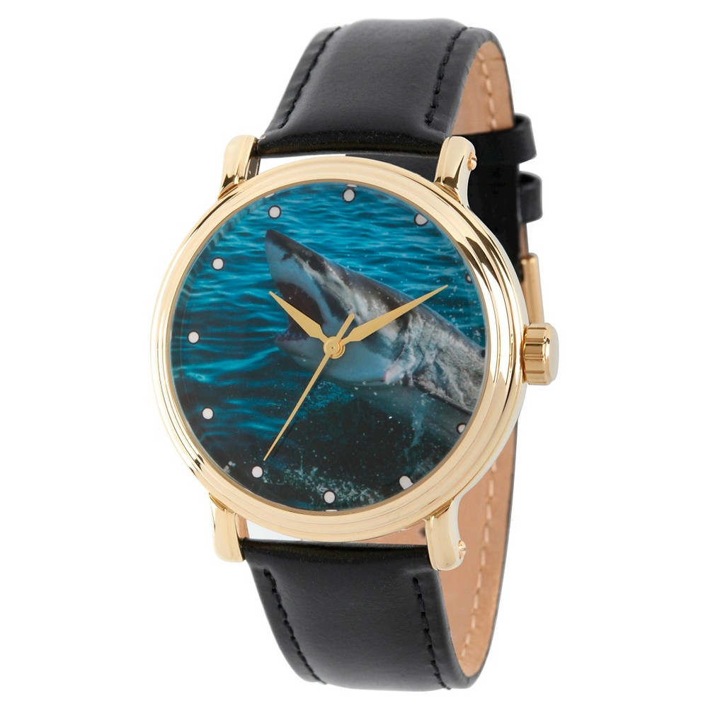 Mens Discovery Channel Shark Week Gold Vintage Alloy Watch - Black