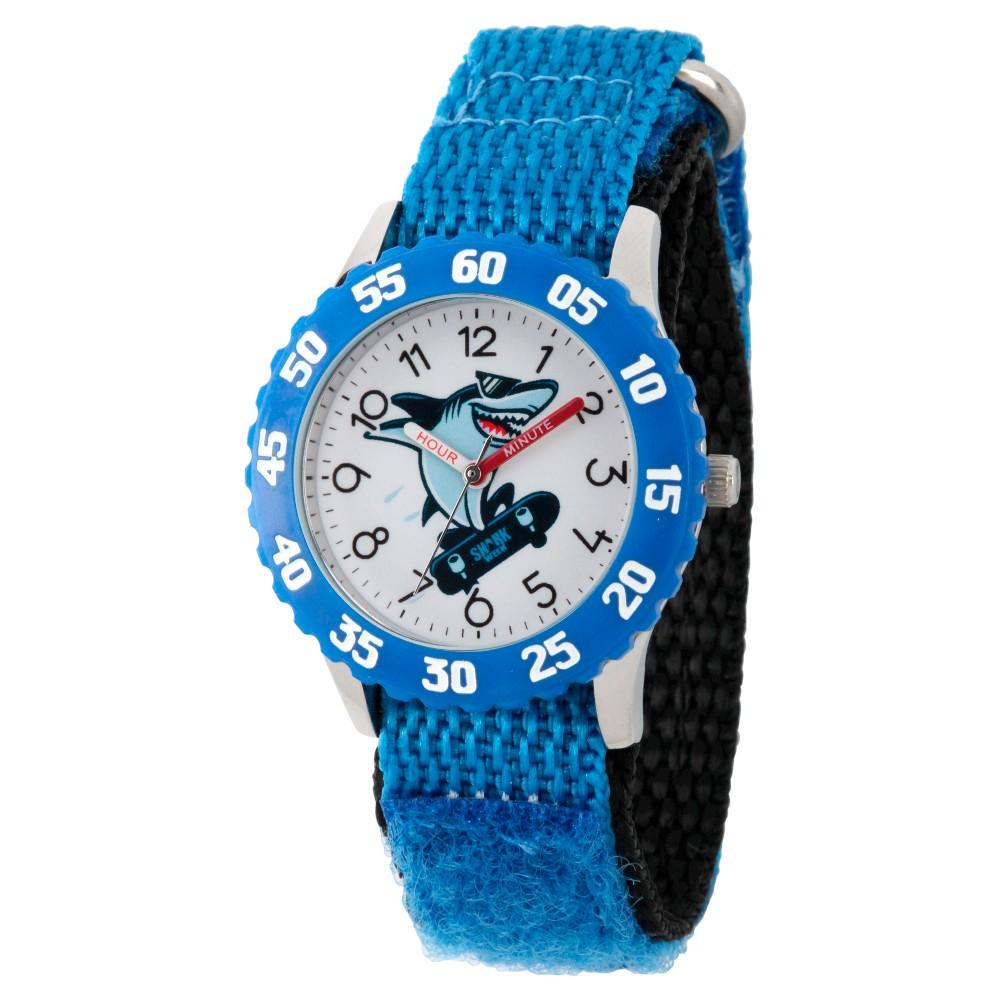 Boys Discovery Channel Shark Week Stainless Steel Time Teacher Watch - Blue