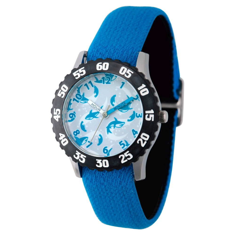 Boys' Discovery Channel Shark Week Stainless Steel Time Teacher Watch - Blue