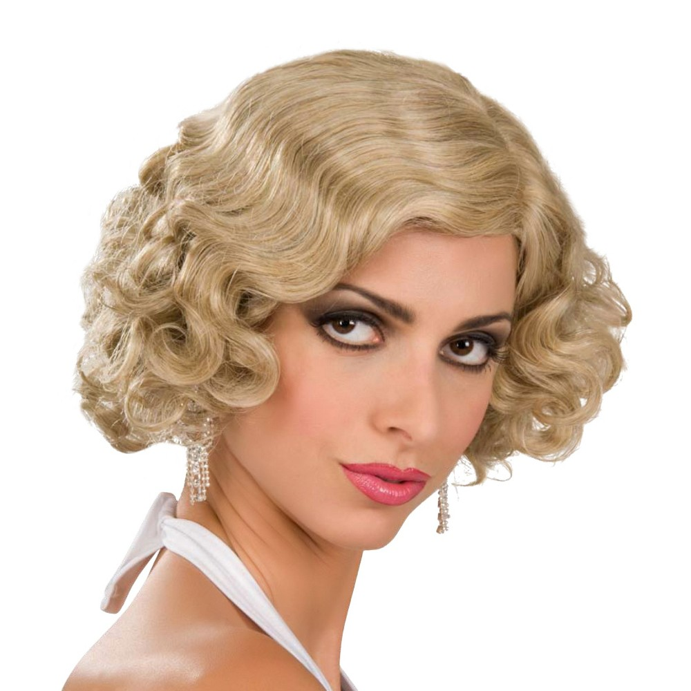 Halloween Adult Flapper Costume Wig Gold, Womens