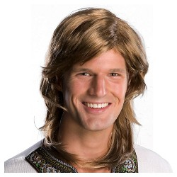 Halloween 70s Guy Brown Costume Wig Brown - One Size Fits Most