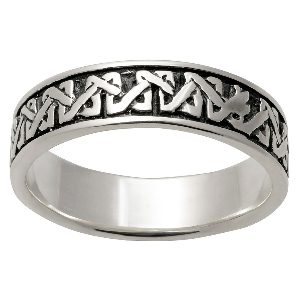 Mens Vance Co. Sterling Silver Celtic Weave Spinning Band - Silver, 11 (7 mm)