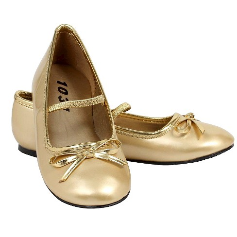 Halloween Girls' Ballet Flat Gold Shoes - image 1 of 1