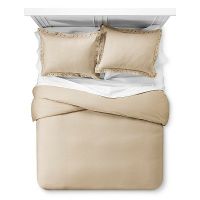 Taupe Nailhead Duvet Cover Set (King)3pc - The Industrial Shop™