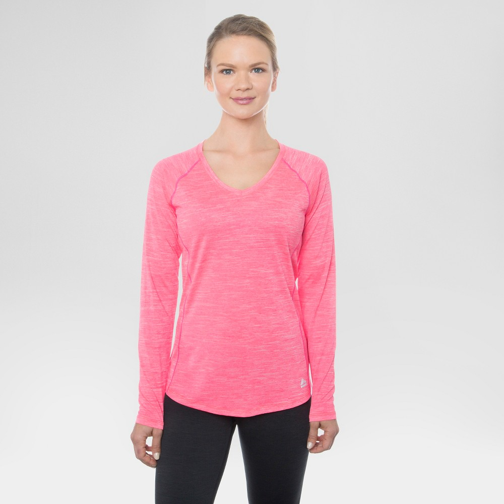 Women's Long Sleeved Space Dye T-Shirt Wild Strawberry L - Rbx, Berry Berry