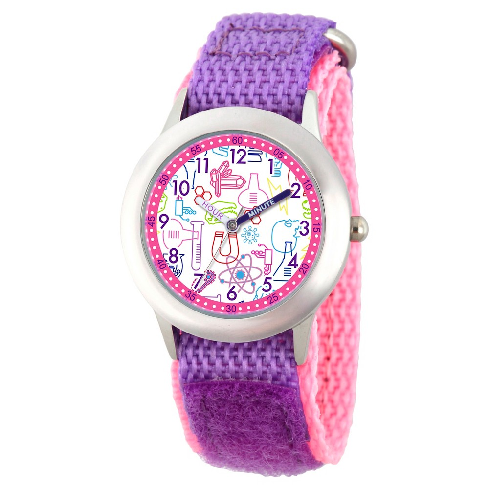 Girls Discovery Channel Stainless Steel Time Teacher Watch - Purple