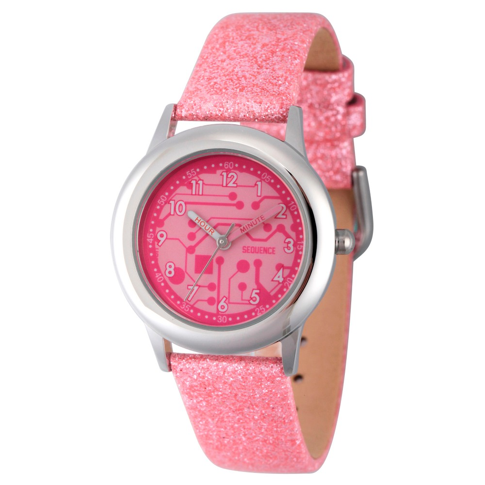 Girls Discovery Channel Stainless Steel Time Teacher Watch - Pink