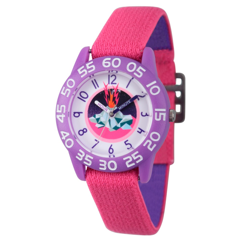 Girls Discovery Channel Purple Plastic Time Teacher Watch - Pink
