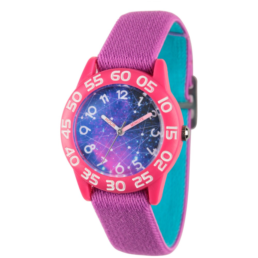Girls Discovery Channel Pink Plastic Time Teacher Watch - Purple