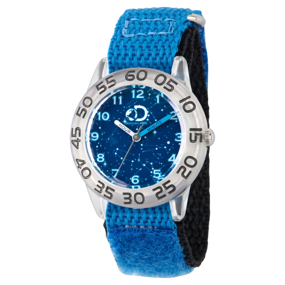 Boys Discovery Channel Clear Plastic Time Teacher Watch - Blue