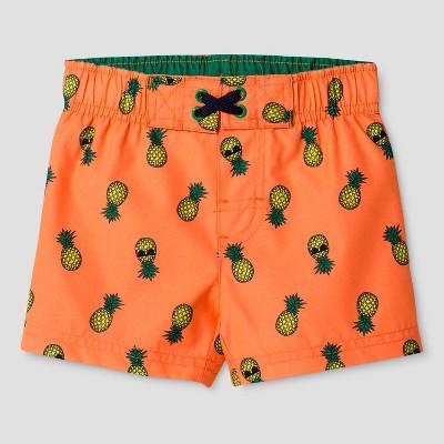 Baby Boys' Pineapple Print Swim Trunk - Cat & Jack™ Orange 9M