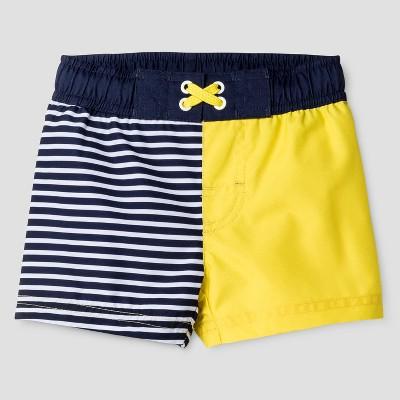 Baby Boys' Stripe Swim Trunk - Cat & Jack™ Navy/Yellow 12M