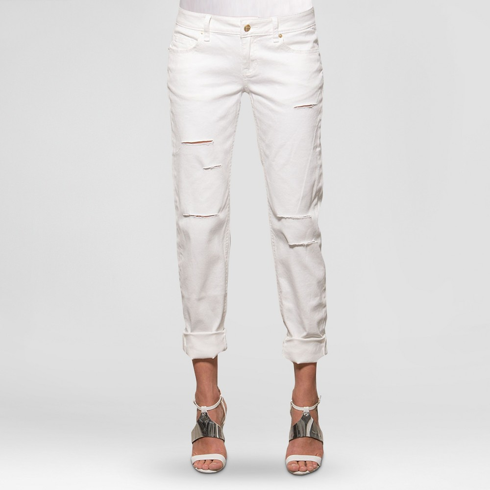 Womens Destructed Skinny Boyfriend Jeans - S&p by Standards and Practices (Juniors) White 27