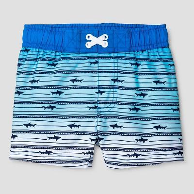 Baby Boys' Ombre Stripe Shark Swim Trunk - Cat & Jack™ Blue 9M