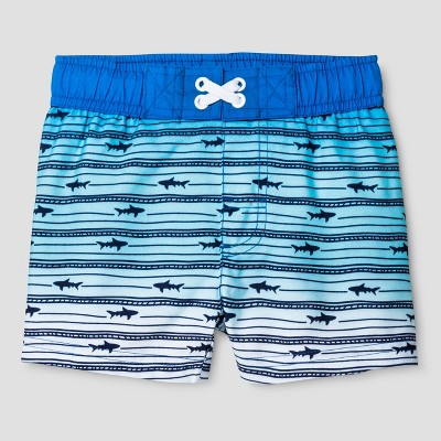 Baby Boys' Ombre Stripe Shark Swim Trunk - Cat & Jack™ Blue 12M