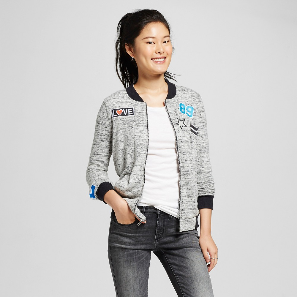 Women's Bomber Jacket With Patches Black L – Miss Chievous(Juniors')