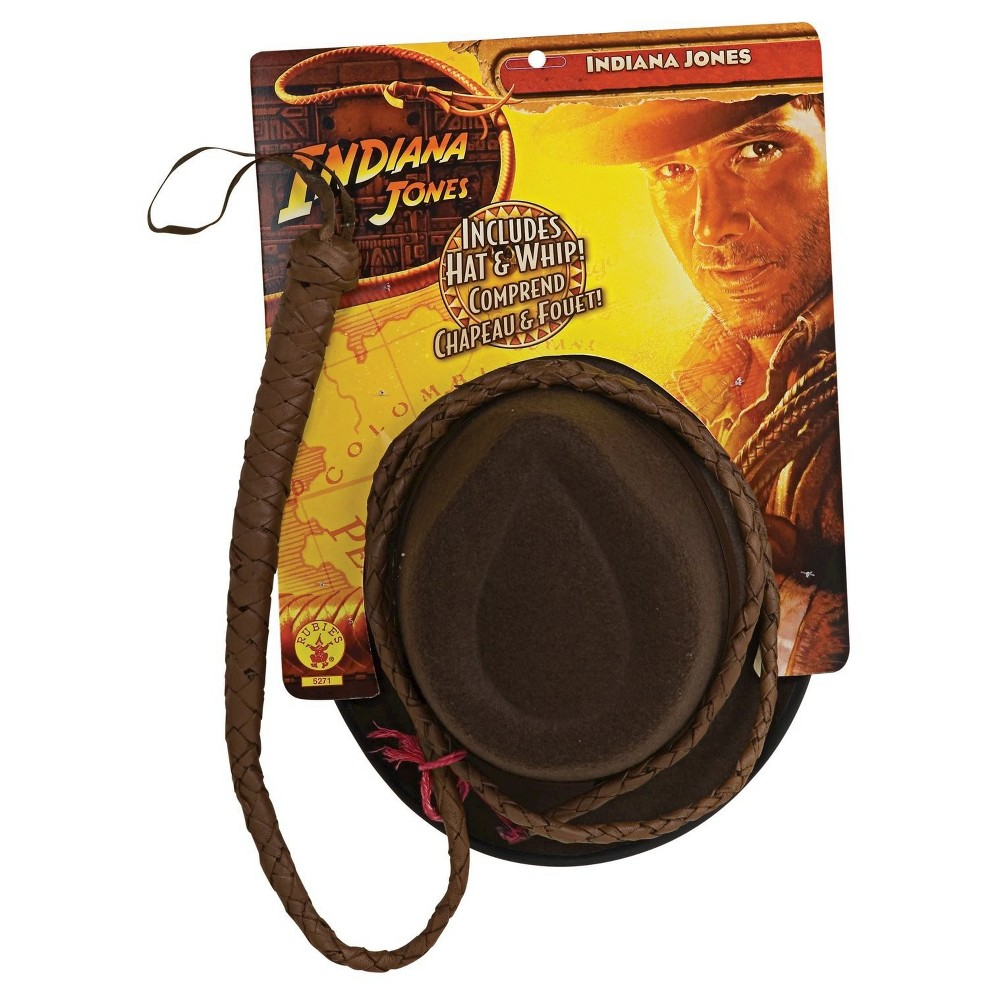 Indiana Jones Hat and Whip Set, Mens, Brown