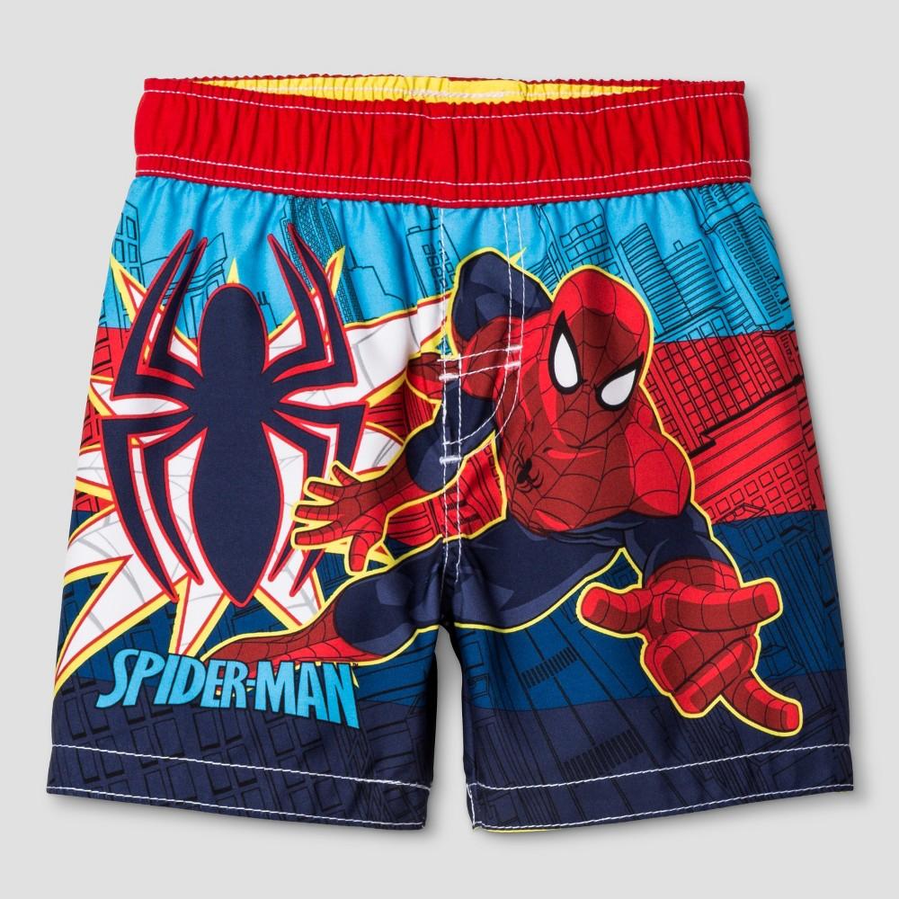 Toddler Boys' Spider-Man Swim Trunk - Red 2T