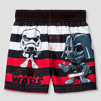 Toddler Boys' Star Wars® Darth Vader Stripe Swim Trunk - Black 4T