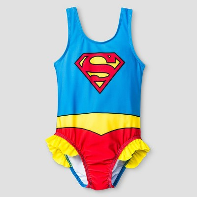 Toddler Girls' Supergirl® One Piece Swimsuit - Blue & Red 2T