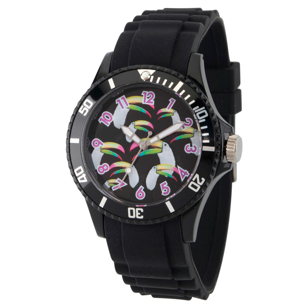 Womens Discovery Channel Animal Planet Plastic Watch - Black
