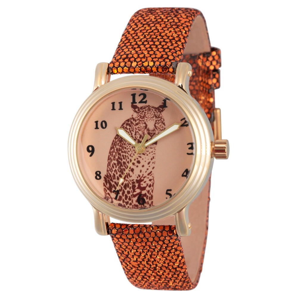 Womens Discovery Channel Animal Planet Gold Vintage Alloy Watch - Brown