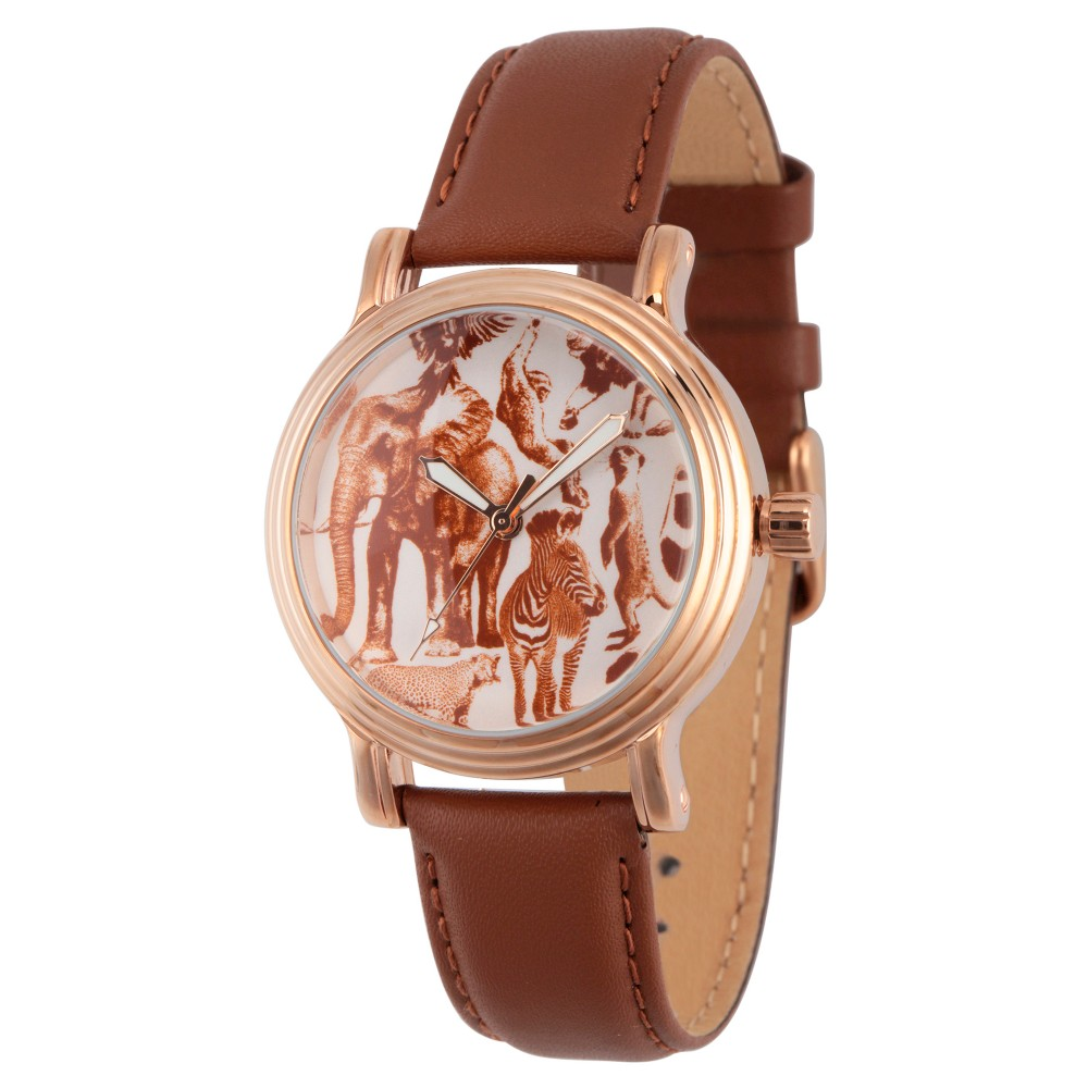 Womens Discovery Channel Animal Planet Rose Gold Vintage Alloy Watch - Brown