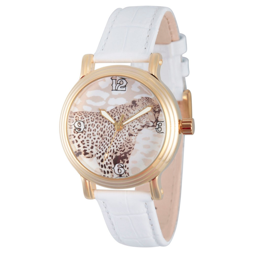 Womens Discovery Channel Animal Planet Gold Vintage Alloy Watch - White