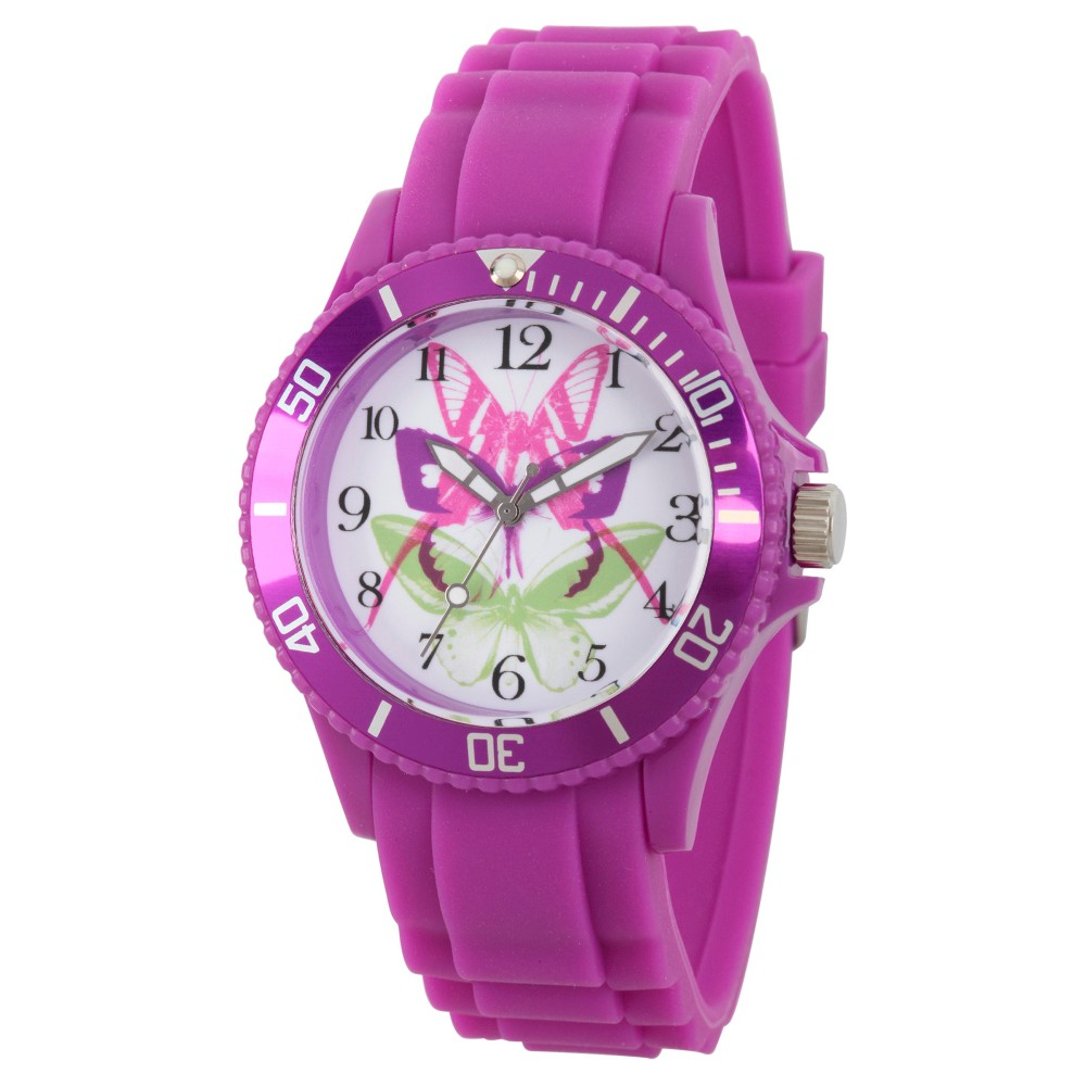 Womens Discovery Channel Animal Planet Plastic Watch - Purple