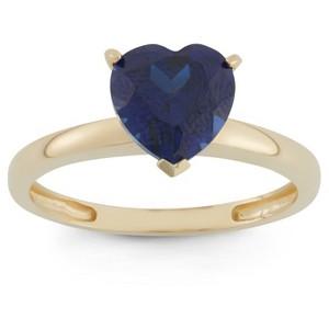 1 3/4 Tcw Tiara Heart-cut Sapphire Ring in 10k Yellow Gold - (8), Women