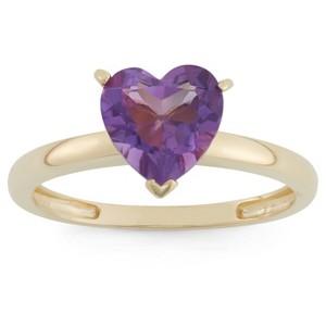 1 3/4 Tcw Tiara Heart-cut Amethyst Ring in 10k Yellow Gold - (8), Women