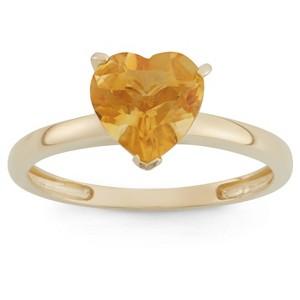 1 3/4 Tcw Tiara Heart-cut Citrine Ring in 10k Yellow Gold - (5), Women