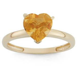 1 3/4 Tcw Tiara Heart-cut Citrine Ring in 10k Yellow Gold - (7), Women