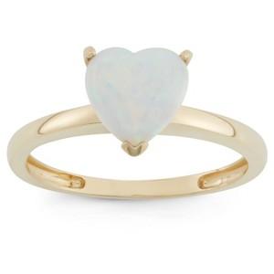 1 3/4 Tcw Tiara Heart-cut Opal Ring in 10k Yellow Gold - (7), Women