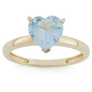 1 3/4 Tcw Tiara Heart-cut Aquamarine Ring in 10k Yellow Gold - (7), Women
