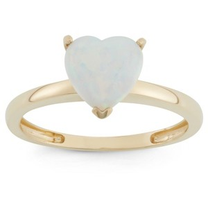 1 3/4 Tcw Tiara Heart-cut Opal Ring in 10k Yellow Gold - (10), Women