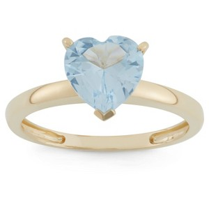 1 3/4 Tcw Tiara Heart-cut Aquamarine Ring in 10k Yellow Gold - (8), Women