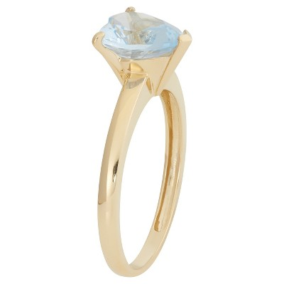 1 3/4 Tcw Tiara Heart-cut Aquamarine Ring in 10k Yellow Gold - (8), Women's